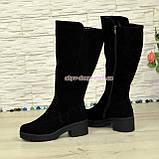 Сапоги женские замшевые зимние на невысоком устойчивом каблуке,цвет черный, фото 3