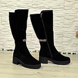 Сапоги женские замшевые зимние на невысоком устойчивом каблуке,цвет черный, фото 4