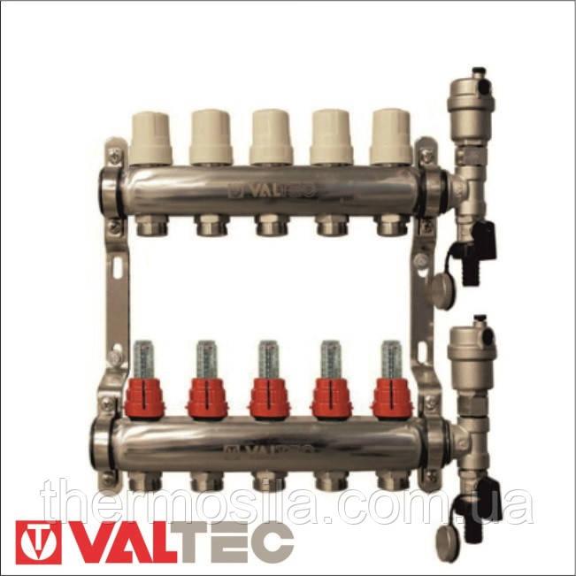 """Коллекторная группа Valtec со встроенными расходомерам в сб. 1""""х7 VT"""