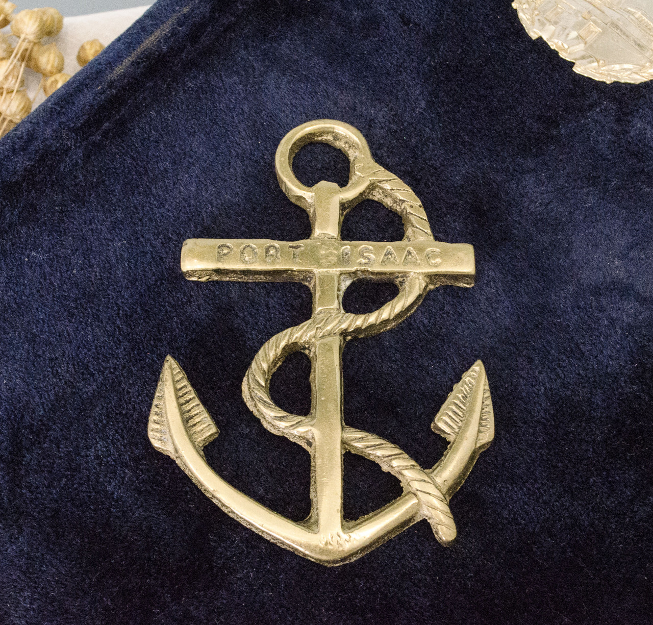 Латунная накладка нашивка, морская тематика, винтаж, латунь, Англия, якорь