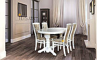 Кухонный комплект -Говерла. Стол раздвижной, 4 стула. Цвет -слоновая кость.
