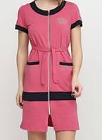 Стильный летний трикотажный халат 42р-52р розовый