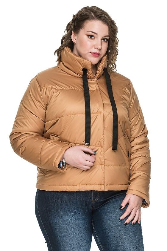 36d9afbf89b Красивая женская куртка весна-осень батал Верона песочный (50-58) - Fashop