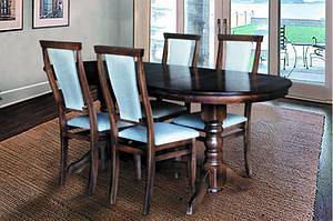 Кухонний комплект -Говерла. Стіл розсувний, 4 стільця. Колір -темний горіх.