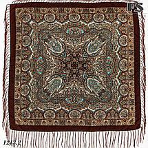 Коричневый павлопосадский шерстяной платок Регина, фото 2