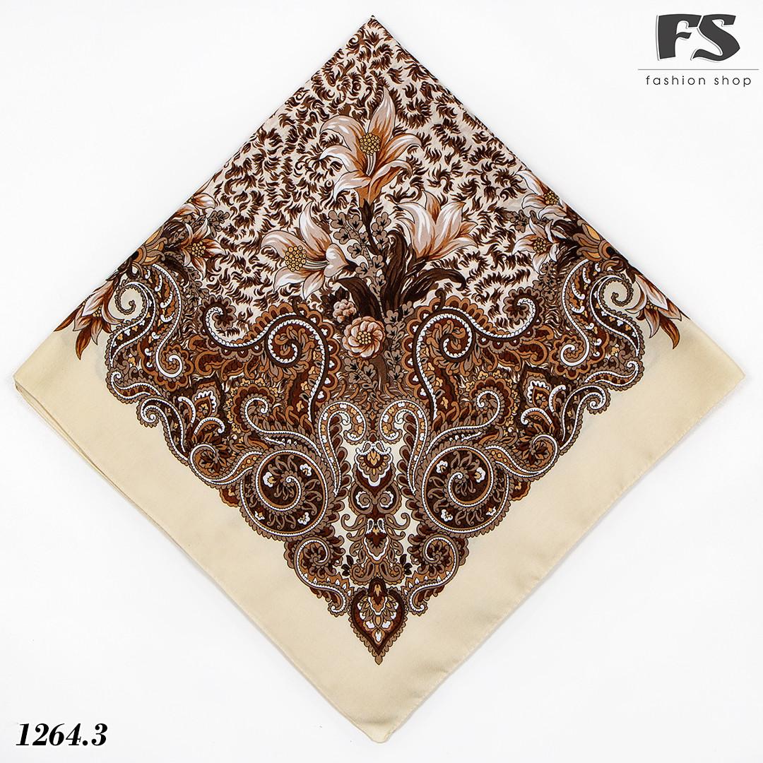 Павлопосадский шерстяной платок Осенний цветок (80см х 80см)