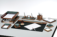 Подарочный набор настольный из дерева и зеленого мрамора BESTAR 9277WDN орех (без подкладки на стол)