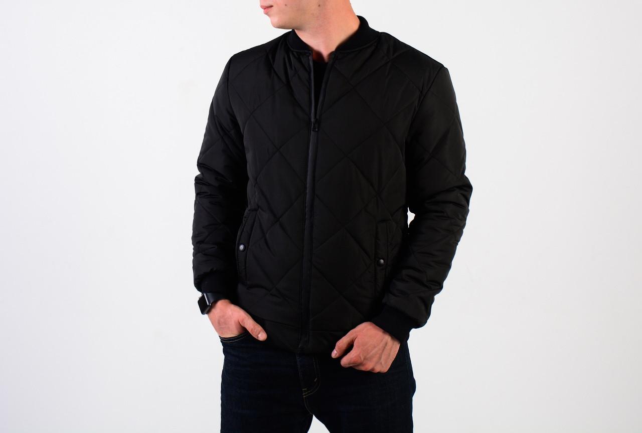 Мужская весенняя черная куртка стеганка, черная мужская стеганка