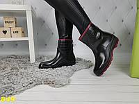 Полусапожки ботинки резиновые утепленные непромокаемые черные, фото 1