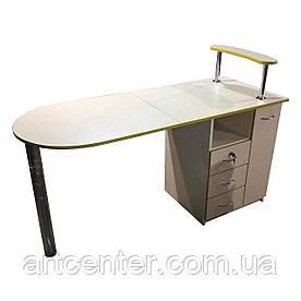 """Маникюрный стол с ящиком """"карго"""", складной столешницей на одной ножке"""