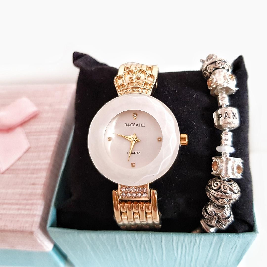 Женские часы В стиле Baosaili + браслет Pandora в подарок.