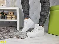 Кроссовки сникерсы форсы высокие на толстой подошве белые, фото 1