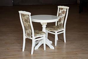 Кухонный комплект -Чумак-2. Стол раздвижной, 2 стула. Цвет -белый, слоновая кость.