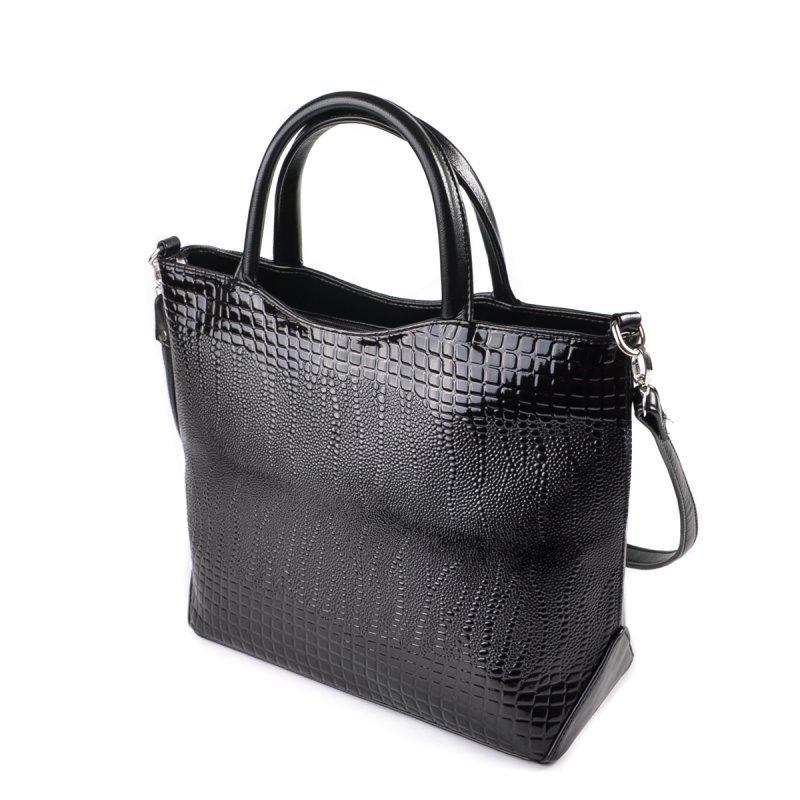 1c4bdd140cd7 Женская лаковая сумка М75-14/Z черная деловая офисная - Интернет магазин  сумок SUMKOFF