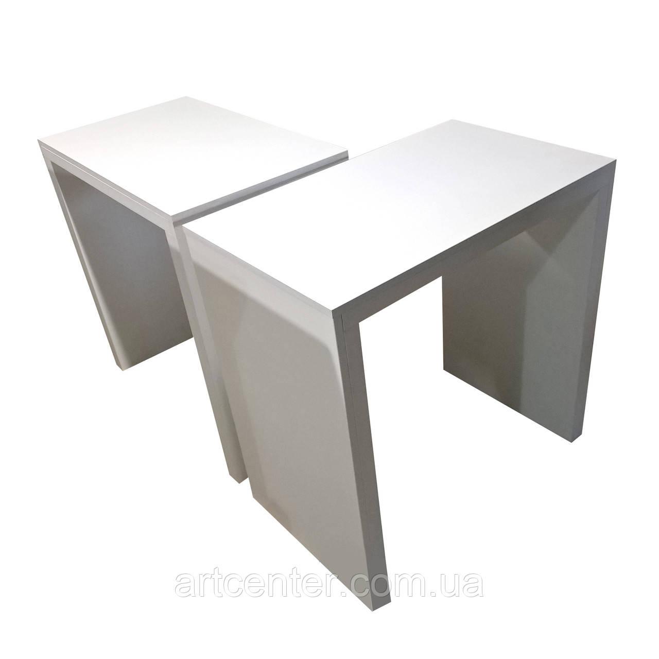 Маникюрный стол с утолщенной столешницей белый, стол офисный белый