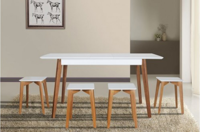 Кухонный комплект -Сингл. Стол и 4 табурета. Цвет -белый+орех