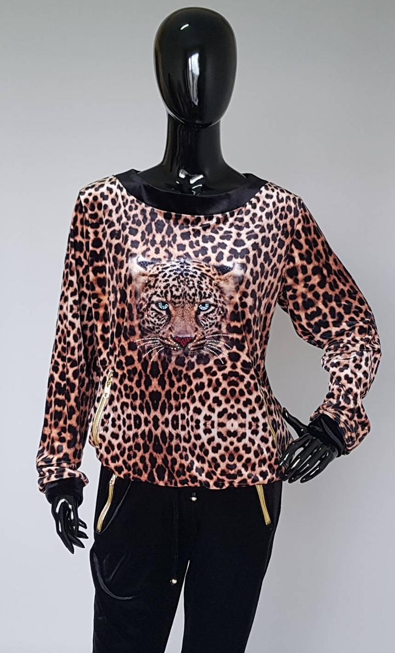 Велюровый женский костюм с леопардовым принтом (Турция)