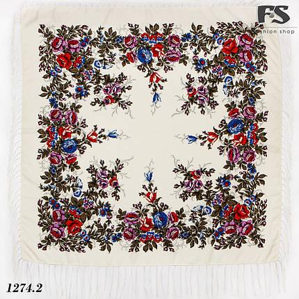 Павлопосадский кремовый платок  Нежность утра, фото 2