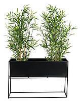 Металлический вазон - ящик для растений черный, фото 1