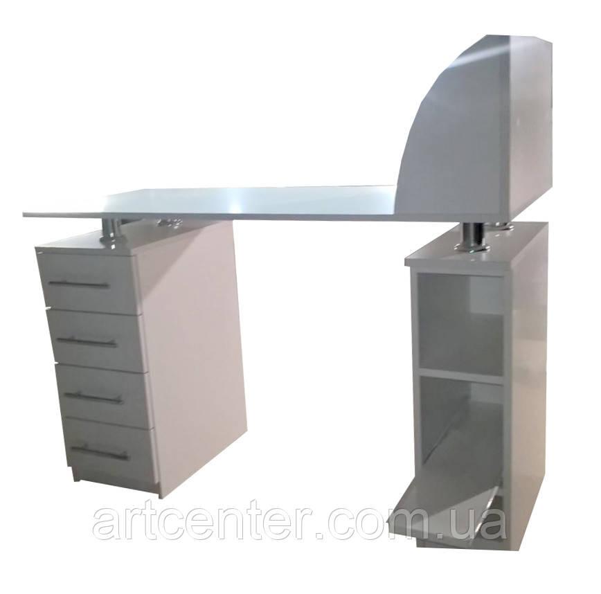 Стол для маникюра с полочкой для лаков с бортиками, двухтумбовый