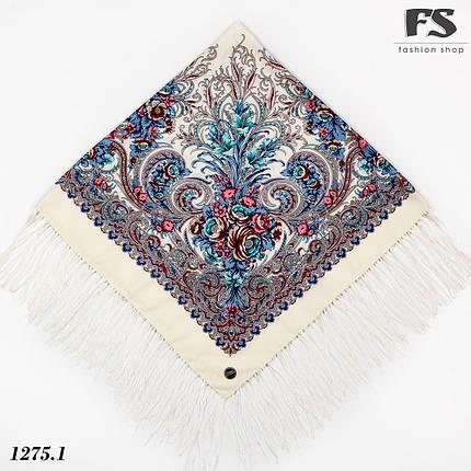Павлопосадский кремовый платок  Изысканная, фото 2