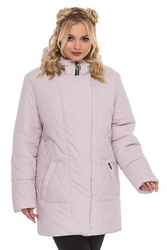 e7ddf59ef24 Стильная куртка осень-весна размера плюс Ирма пудра (50-60) - Fashop