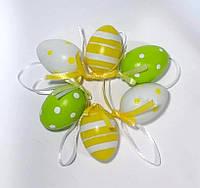 Яйця декоративні 6 шт. (4см)_ПОЛОСКА і ГОРОШОК жовтий (є опт), фото 1