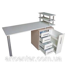 """Маникюрный стол  cо встроенным  УФ блоком, стол маникюрный с ящиком """"карго"""" и полочками для лаков"""