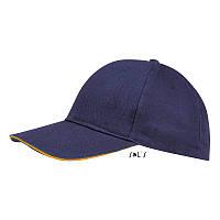 Кепка Бейсболка Кобальт/неон оранжевый ОПТ, фото 1
