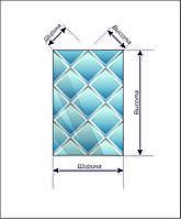 Панно зеркальное НСК 100смх200см, ромбы, серебро (натуральный цвет), фацет 1см