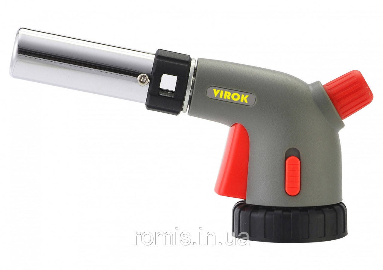 Пальник газовий VIROK з цанговим (швидким) з'єднанням, п'єзо запал, керамічне сопло, блок. кнопка