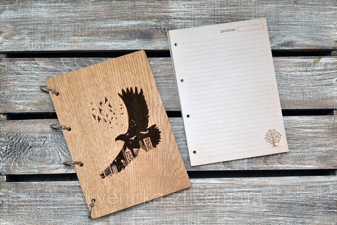 Блокноты с деревянной обложкой. На кольцах. Орел. А5. (А00614)