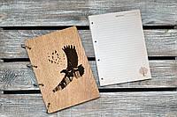 Блокноты с деревянной обложкой. На кольцах. Орел. А5. (А00614), фото 1