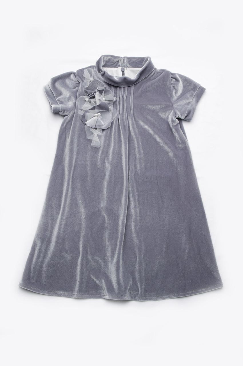 Платье нарядное из бархата, серый