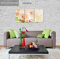 """Модульная картина на холсте """"Цветы"""" 142х70 см"""
