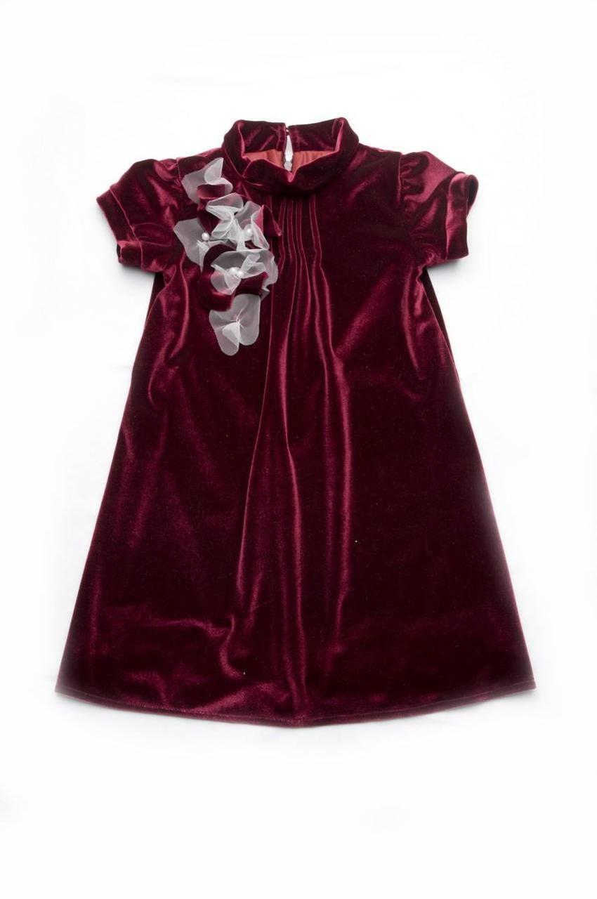 Платье нарядное из бархата, бордовый