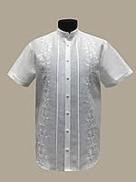 Мужская льняная белая  вышиванка Тристан 42 - 60 р. с коротким рукавом