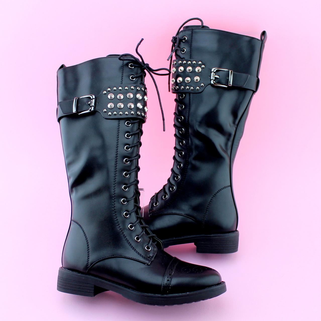 Детские черные демисезонные высокие ботинки девочке тм BIKI размер 33,34,35,36,37,38