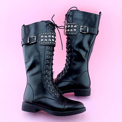 Детские черные демисезонные высокие ботинки девочке тм BIKI размер 33,34,35,36,37,38   , фото 2