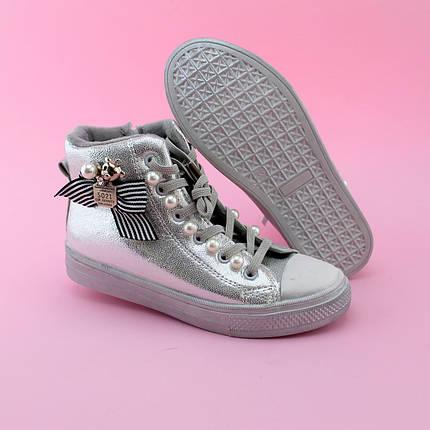 Демисезонные высокие кеды ботинки весна осень серебро тм JG размер 33,34, фото 2