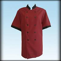 Китель (куртка) повара бордовый, габардин