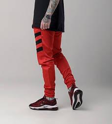 """Мужские штаны спортивные """"Флип"""" красные с черным. Живое фото"""