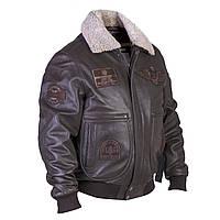 Летная куртка TOP GUN кожаная коричневая