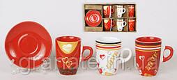 Кофейный набор LOVE из керамики 6 чашек с блюдцами 120 мл