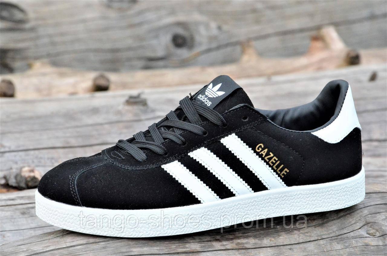a26e0687 Модные мужские кроссовки, кеды реплика Adidas GAZELLE натуральная замша  черные удобные (Код: Т1327