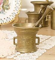 Старая бронзовая ступа, ступка для специй, с пестиком, бронза, Германия , фото 1