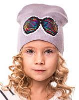 """Весенняя шапочка бини  для  девочки   """"Очки"""" 2цвета  р.46 - 50"""