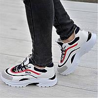 Очень модные женские кроссовки белые с темно синими и красными вставками мягкие и удобные (Код: Т1331а)