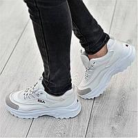 Очень модные женские кроссовки белые с серой вставкой на носке легкие и красивые (Код: Т1332а)