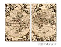"""Модульная картина на холсте """"Старинная карта"""" 134х100 см"""